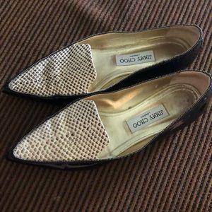 Jimmy Choo patent flat snake loafers. Size 39